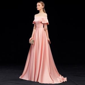 Modest / Simple Pearl Pink Evening Dresses  2019 A-Line / Princess Off-The-Shoulder Sash Short Sleeve Backless Sweep Train Formal Dresses