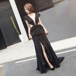 Chic / Beautiful Black Evening Dresses  2017 A-Line / Princess V-Neck Lace Backless Alligator Print Evening Party Prom Dresses