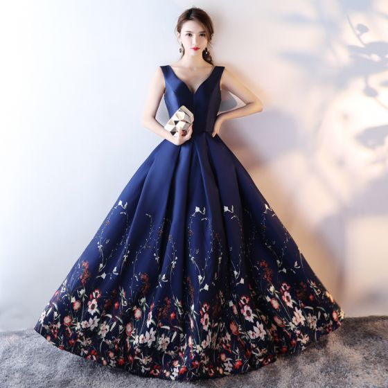 Chic / Beautiful Navy Blue Flower Prom Dresses 2017 A-Line / Princess V-Neck Sleeveless Printing Satin Floor-Length / Long Ruffle Backless Formal Dresses