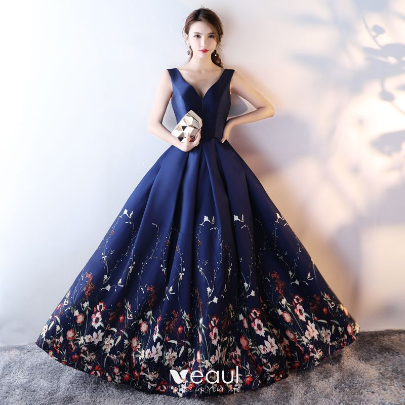 Beautiful Navy Blue Flower Prom Dresses