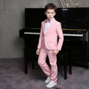 Modest / Simple Candy Pink Long Sleeve Boys Wedding Suits 2018