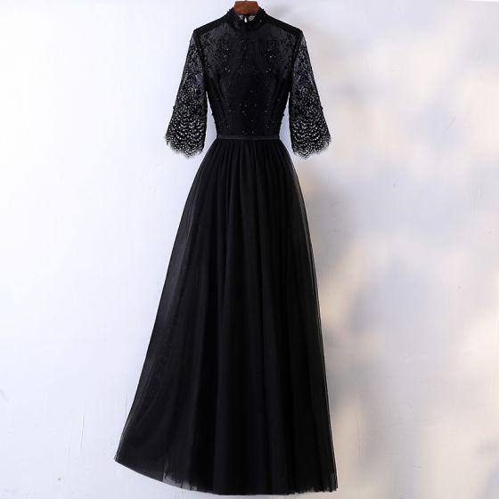 Piękne Czarne Sukienki Wieczorowe 2017 Princessa Koronkowe Kryształ Perła Cekiny Wysokiej Szyi 1/2 Rękawy Długość Kostki Sukienki Wizytowe