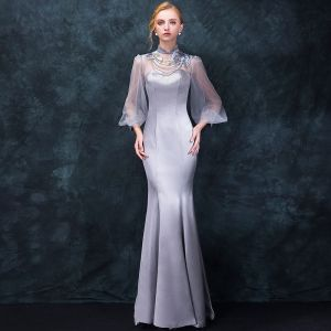 Chinese style Grey Pierced Evening Dresses  2018 Trumpet / Mermaid High Neck Long Sleeve Embroidered Beading Floor-Length / Long Ruffle Formal Dresses