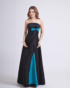 Square Bowknot Organza Floor Length Backless Bridesmaid Dress