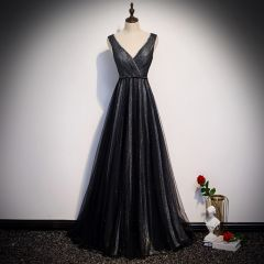 Fashion Black Evening Dresses  2020 A-Line / Princess V-Neck Sleeveless Glitter Tulle Beading Sash Floor-Length / Long Ruffle Backless Formal Dresses