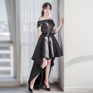 Chic / Beautiful Black Cocktail Dresses 2018 A-Line / Princess Off-The-Shoulder Short Sleeve Beading Sash Asymmetrical Backless Formal Dresses
