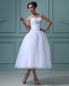 Ruffles Satin Tulle Beading Sleeveless Ruffles Sweetheart Short Mini Wedding Dresses