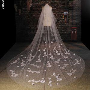 Langen Weißen Spitzenschleier Brautschleier