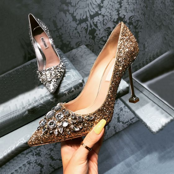 Charming Gold Wedding Shoes 2019 Rhinestone Sequins 8 cm Stiletto Heels Pointed Toe Wedding Pumps