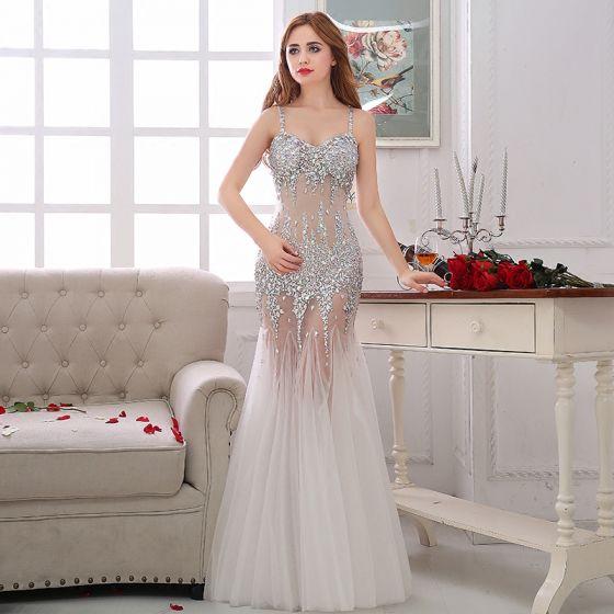 Kleider 2017 Lange Abendkleider Festliche Weiß Mermaid Sexy ALq34cSRj5