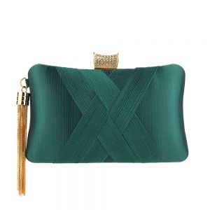 Modest / Simple Dark Green Ruffle Square Clutch Bags 2020