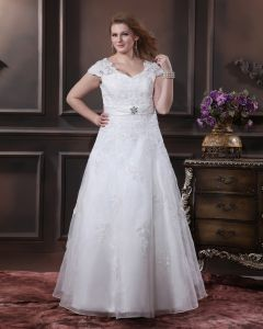 Yarn Applique Beading V Neck Floor Length Plus Size Bridal Gown Wedding Dress