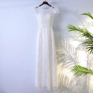 Eenvoudige Witte Bruidsmeisjes Jurken 2017 A lijn Kant Bloem Strik Ruglooze Ronde Hals Korte Mouwen Enkellange Jurken Voor Bruiloft