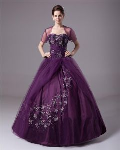 Ball Gown Taffeta Tulle Sweetheart Beading Applique Floor Length Quinceanera Prom Dresses