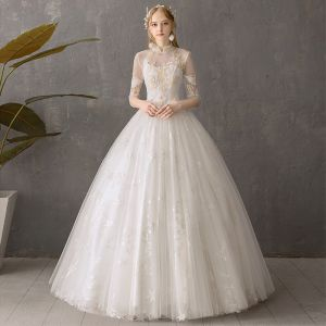 Affordable Ivory See-through Outdoor / Garden Wedding Dresses 2019 Ball Gown High Neck Backless 3/4 Sleeve Star Appliques Lace Floor-Length / Long Ruffle