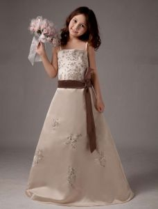 Spaghetti Embroidery Sash Satin Flower Girl Dress