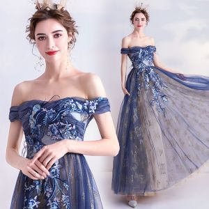 Elegant Navy Blue Evening Dresses  2020 A-Line / Princess Glitter Off-The-Shoulder Beading Lace Flower Sleeveless Backless Floor-Length / Long Formal Dresses