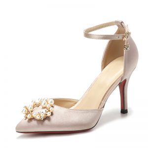 Chic / Beautiful Champagne Wedding Shoes 2019 8 cm Heels Charmeuse Beading Pearl Rhinestone Pointed Toe Wedding Stiletto Heels