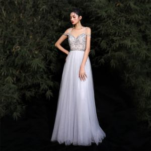 Charming Grey Evening Dresses  2020 A-Line / Princess Spaghetti Straps Beading Rhinestone Sequins Sleeveless Backless Floor-Length / Long Formal Dresses