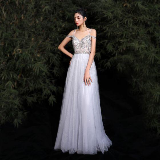 Charming Grey Evening Dresses  2020 A-Line / Princess Spaghetti Straps Beading Rhinestone Sequins Sleeveless Backless Floor-Length / Long Formal Dresses