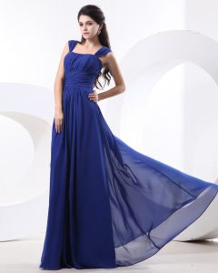 Chiffon Ruffle Shoulder Straps Floor Length Bridesmaid Dress Gown