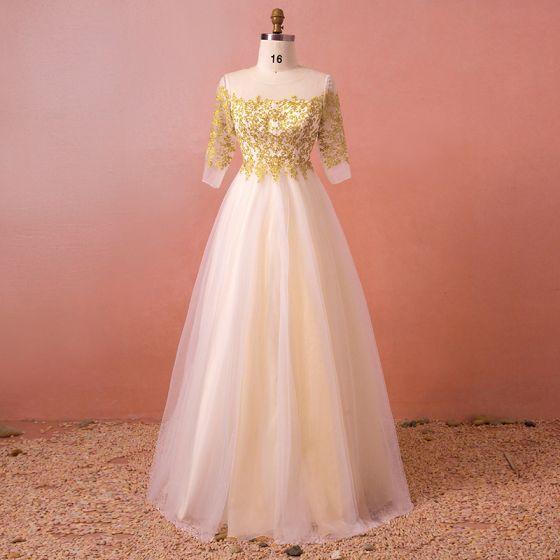 Classic Elegant Gold Plus Size Wedding Dresses 2018 A-Line / Princess Lace Tulle U-Neck Appliques Backless Wedding