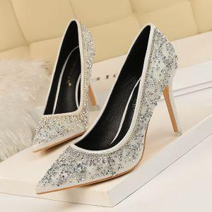 Scintillantes Doré Faux Diamant Chaussure De Mariée 2020 Paillettes 8 cm Talons Aiguilles À Bout Pointu Mariage Escarpins