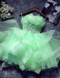 Schönen Grünen Cocktailkleid  Rüschen Kaskadierung Trägerlosen Kurzes Partykleider