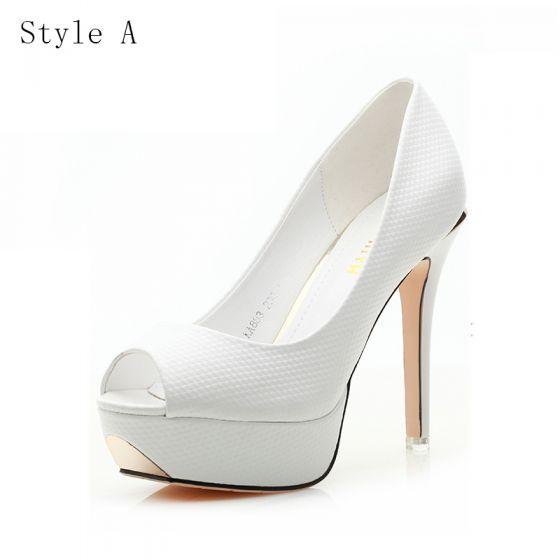 Chic / Beautiful Wedding Shoes 2017 PU Snakeskin Print Platform Open / Peep Toe High Heel Pumps