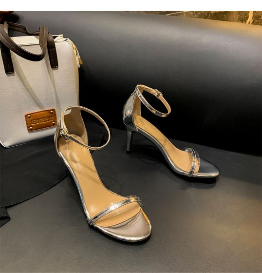 Sexy Silver Cocktail Party Womens Sandals 2020 Ankle Strap 8 cm Stiletto Heels Open / Peep Toe Sandals