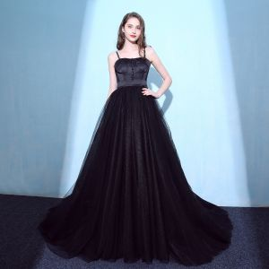 Charming Black Prom Dresses 2018 Empire Spaghetti Straps Backless Sleeveless Court Train Formal Dresses