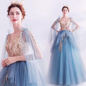 Fashion Pool Blue Prom Dresses 2020 A-Line / Princess V-Neck Beading Sequins Pearl Sleeveless Backless Floor-Length / Long Formal Dresses