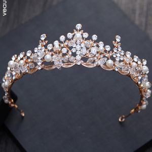 Mooie / Prachtige Goud Huwelijk Accessoires 2018 Metaal Parel Rhinestone Kristal Tiara