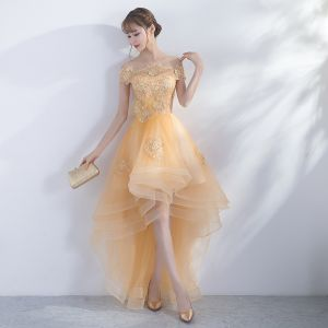 Modern / Fashion Gold Cocktail Dresses 2017 A-Line / Princess Asymmetrical Tassel Off-The-Shoulder Short Sleeve Backless Appliques Flower Rhinestone Formal Dresses