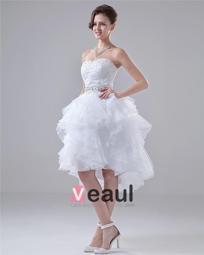 Sweetheart Layer Upon Layer Knee High Beading Mini Wedding Dress