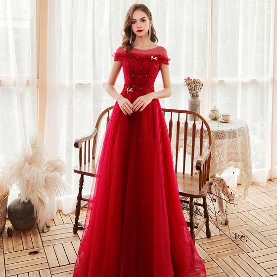 Chic / Belle Rouge Robe De Soirée 2020 Princesse Transparentes Encolure Dégagée Manches Courtes Perlage Glitter Tulle Train De Balayage Dos Nu Robe De Ceremonie