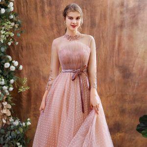 Vintage Pearl Rosa Durchsichtige Abendkleider 2020 A Linie Stehkragen Lange Ärmel Applikationen Spitze Pailletten Geflecktes Tülle Wadenlang Rüschen Rückenfreies Festliche Kleider