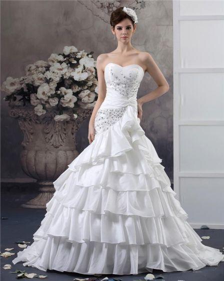 Sweetheart Perlen Bodenlangen Taft Ballkleid Brautkleid