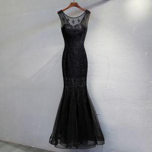 Piękne Czarne Sukienki Wieczorowe 2017 Syrena / Rozkloszowane Z Koronki Frezowanie Cekiny Wycięciem Bez Pleców Bez Rękawów Długość Kostki Sukienki Wizytowe