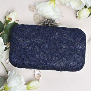 Fine Mørk Marineblå Glitter Polyester Håndvesken  2019