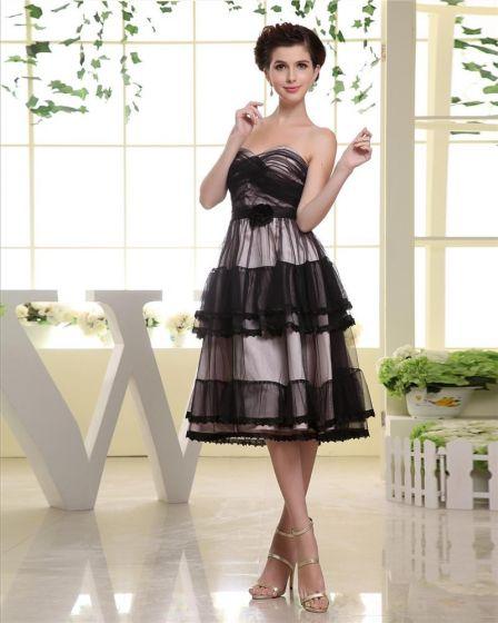 Długosc Uda Tiul Sweetheart Dekolt Plecionka Kobieta-line Tanie Sukienki Koktajlowe Sukienki Wizytowe