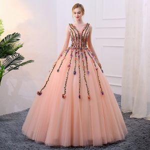 Fée Des Fleurs Perle Rose Robe De Bal 2018 Robe Boule Appliques Perle V-Cou Dos Nu Sans Manches Longue Robe De Ceremonie