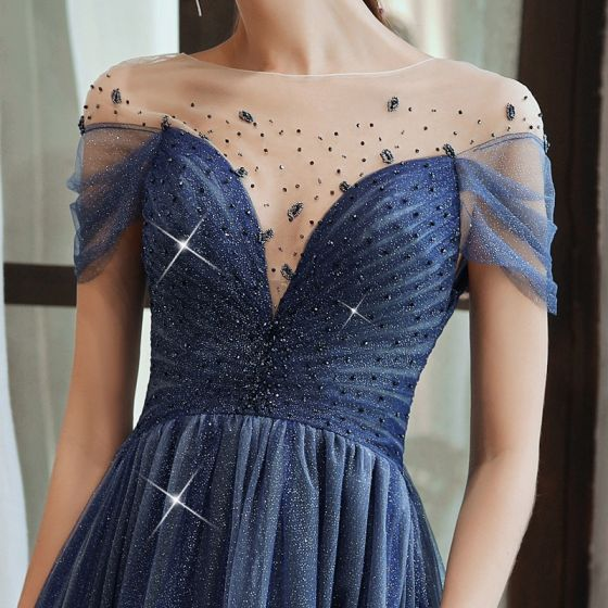 Glanz Sternenklarer Himmel Königliches Blau Durchsichtige Abendkleider 2020 A Linie Eckiger Ausschnitt Kurze Ärmel Perlenstickerei Lange Rüschen Rückenfreies Festliche Kleider