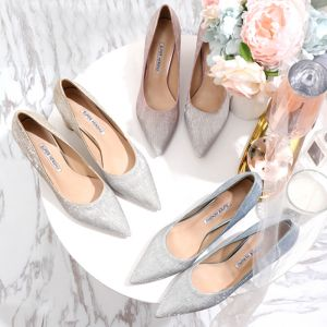 Charming Gradient-Color Gold Wedding Shoes 2020 Rhinestone Sequins 6 cm Thick Heels Pointed Toe Wedding Pumps