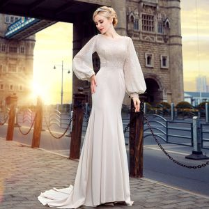Elegant Ivory Evening Dresses  2018 Trumpet / Mermaid Scoop Neck Long Sleeve Beading Court Train Ruffle Backless Formal Dresses