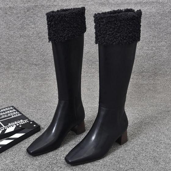 Schöne Winter Schwarz Strassenmode Stiefel Damen 2020 Leder 5 cm Thick Heels Quadratische Zehe Stiefel