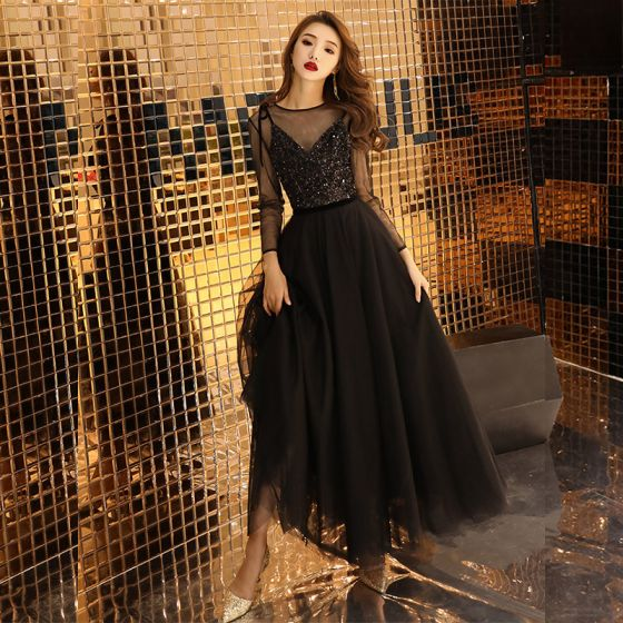 Affordable Black See-through Prom Dresses 2019 A-Line / Princess Scoop Neck Long Sleeve Glitter Sequins Ankle Length Ruffle Formal Dresses
