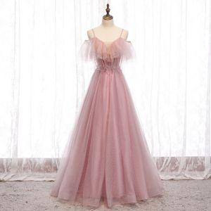 Niedrogie Rumieniąc Różowy Sukienki Wieczorowe 2020 Princessa Spaghetti Pasy Kótkie Rękawy Frezowanie Cekinami Tiulowe Długie Wzburzyć Bez Pleców Sukienki Wizytowe