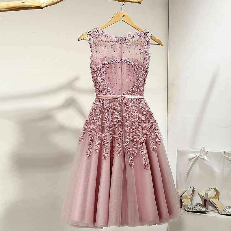 Chic / Beautiful Evening Party Formal Dresses 2017 Party Dresses Lace Flower Appliques Pearl Scoop Neck Sleeveless Candy Pink Short A-Line / Princess