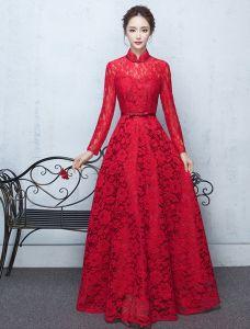 Elegante Hoch Hals Abendkleid Rotes Spitzenkleid Mit Bowknot Schärpe